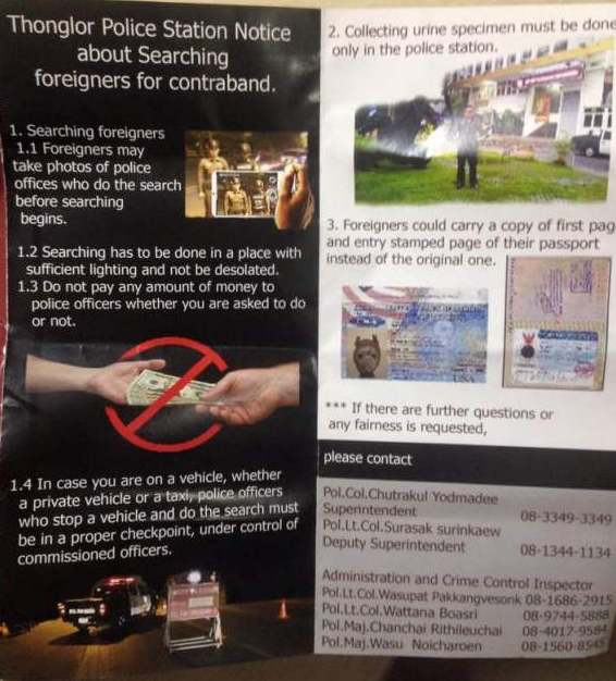 stop-and-searches-thailand-thonglor-police-pamphlet-leaflet-drug-tests-passports